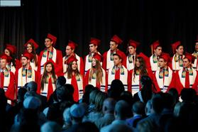 De Toledo High School graduation 2014: Male and Female graduates wearing prayer shawls