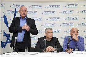 Press conference of Yeshatid after approval criminal sanctions in Shaked committee. Ofer Shelah, Yair Lapid, Jacob Perry. 20.02.14,  Photo: Gideon Markowitz, Flash 90