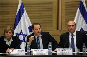 The meeting of the Foreign Affairs and Defense Committee about Tal Law. From the right: Knesset member Shaul Mofaz Head of the commitee, Knnesset memberYohanan Plesner head of the Tal law supervision team, Head of Army HR Major-General Orna Barbivai. 23.1.12. Photograph by: Kobi Gideon, Flash 90.