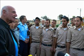 Minister Yaakov Peri of Yesh Atid, chair of the Committee for Implementing Equality in Sharing the Burden, meets ultra-Orthodox soldiers on an Israeli Air Force base. Photo: Yosi Zeliger/Flash90