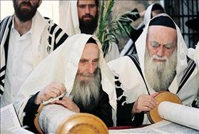 Haredi Jews at prayer during Festival of Sukkot, source: Wikipedia