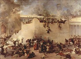 Destruction of the Temple in Jerusalem by Francesco Hayez depicts the destruction of the Second Temple by Roman soldiers. Oil on canvas, 1867.