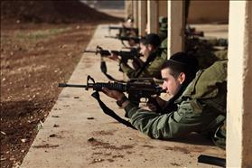 Haredi Netzah Yehuda Battalion soldiers at a firing range. 24.2.2012. Photograph: Nahumi  Ya'akov, Flash 90.