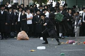 Haredim throwing garbage Flash90