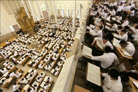 Students return to the Ponevezh Yeshiva in Bnei Brak after summer vacation for studies leading up to the High Holidays.
